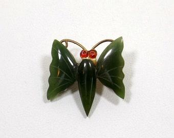 Jade Butterfly Brooch Pendant Duo