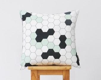 """Geometric Pillow, Decorative Pillow, Modern Nursery Pillow, Kids Throw Pillow, Mint Black Honeycomb 16"""" x 16"""""""