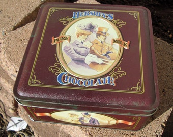 Hershy's candy tin, collectible limited edition Hershey's chocolate brown tin canister, 90s