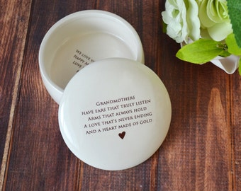 Unique Grandmother Gift - Round Keepsake Box  - With Gift Box