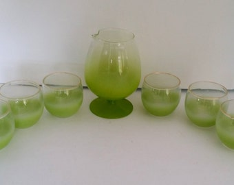 Vintage Lime Green Blendo Martini / Snifter Style Pitcher and 6 Roly Poly Glasses