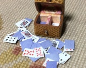 Card Box with Cards - by Pat Tyler Leather Dollhouse Miniatures