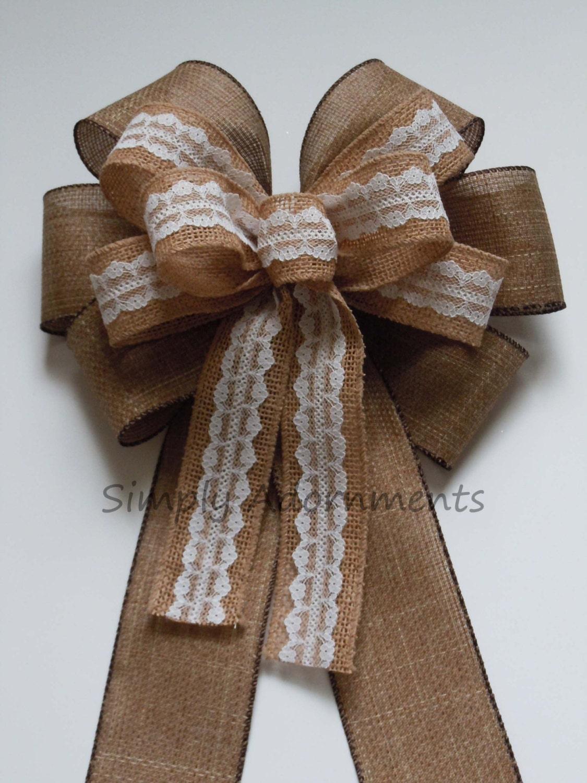Vintage burlap lace pew bow burlap lace wedding aisle decor - Bow decorations for weddings ...