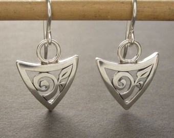 Leaf Spiral Triangle Shield earrings, solid sterling silver dangle earrings handmade in USA