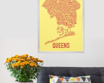 Queens Neighborhood Map Poster or Print, Original Artist of Type City Neighborhood Map Designs, Typography Map Art