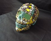 Sugar Skull Lamp, Day of the Dead Skull, Gothic Skull, Mosaic Sugar Skull, Home Decor, Halloween Skull