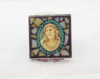 Mosaic Jesus Make Up Mirror, Square Double Sided Mirror, Hand Held Mirror, Religious Gift