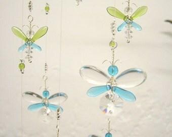 Christmas Gift Nursery Idea Decoration Blue Mobile Suncatcher Swarovski Crystal Suncatcher Chandelier Baby Boy Mobile Hanging Angel Garland
