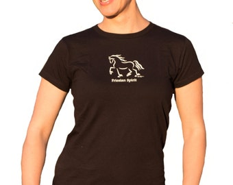 "Horse Tee Shirt, ""Friesian Spirit"", Equine Design by Sandra Beaulieu, Horse Gift, Friesian Horse, Horse Holiday Gift, DISCONTINUED STYLE"