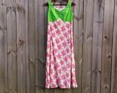 M Medium Vintage 60s 70s Maxi Green Pink Prange Floral Print Sleeveless Summer Spring Hippie Festival Hipster Hostess Housedress