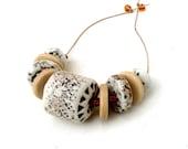 Ceramic Bead Set, Statement Necklace Bead Set,  Handmade Porcelain Beads , Tribal Beads,  Jewelry Supplies