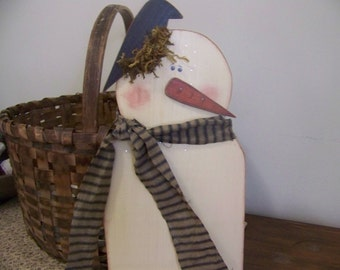Primitive Wooden Snowman Christmas Holiday Winter Decor