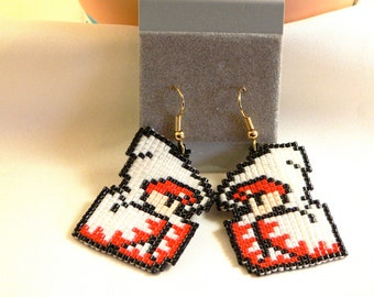 Pixel White Mage 8bit Final Fantasy Earrings Handmade Bead
