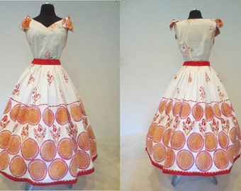 Charming White Linen with Vibrant Red and Honey Gold Block Print 2-Piece Summer or Party Dress