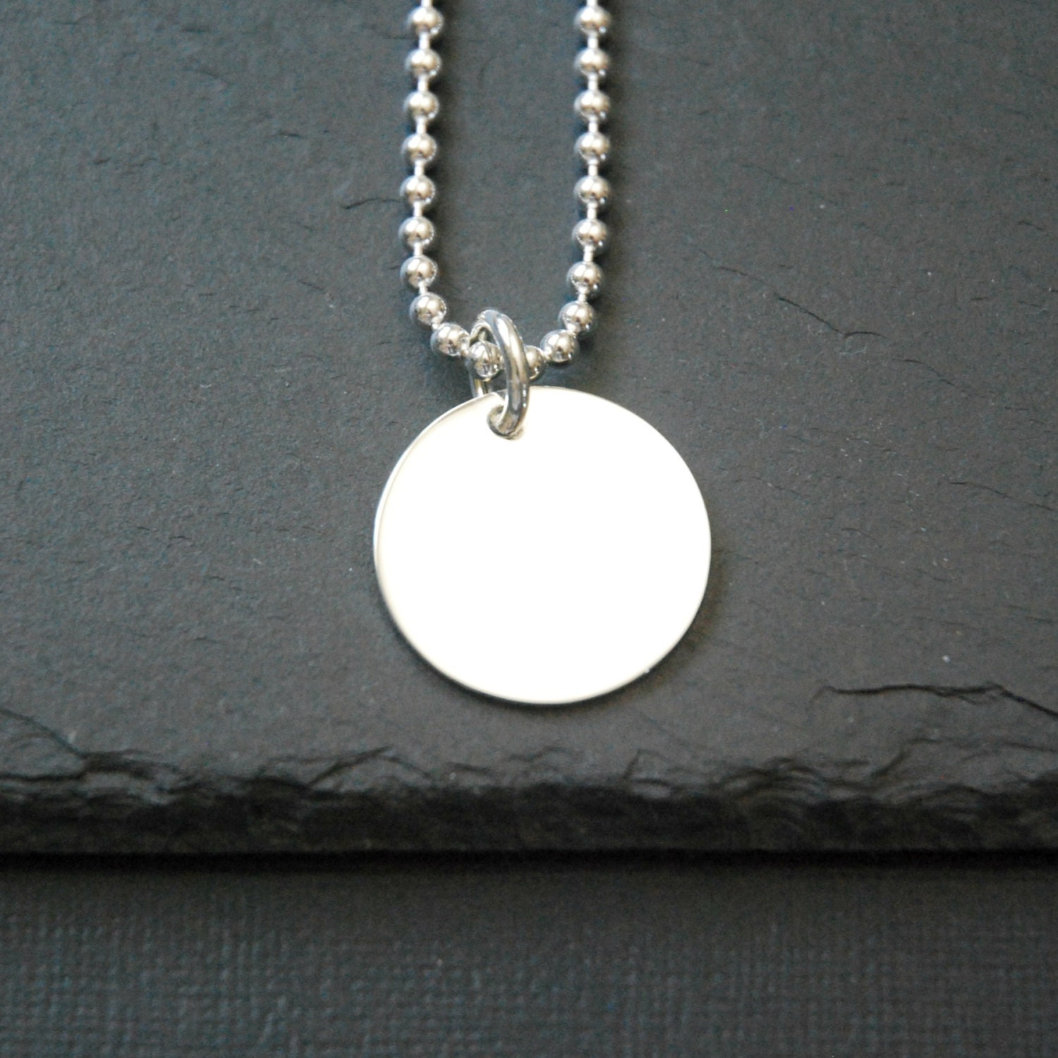 Disk Silvers: Engraved Disk Necklace Large Sterling Silver Tag