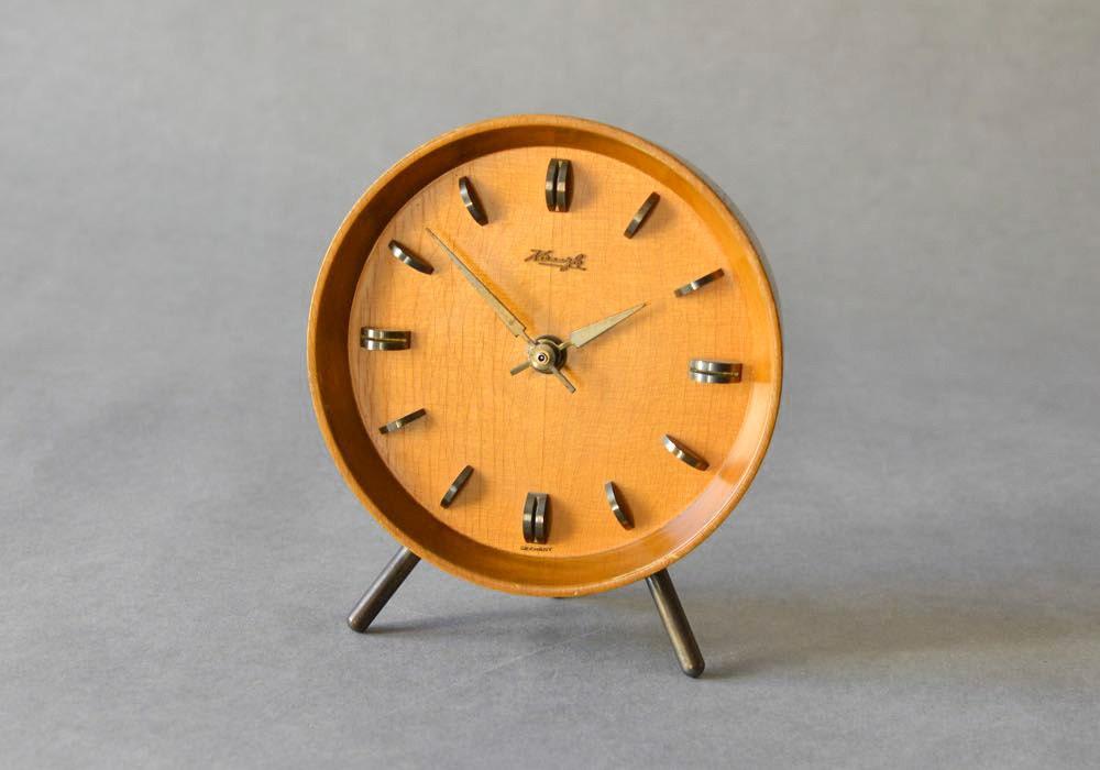 Vintage german wooden kienzle desk clock table