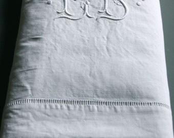 vintage linen sheet, JS monogrammed linen bedding