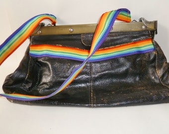 Vintage Leather HANDBAG with Brushed Brash Hardware and Rainbow Sling