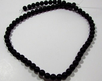 Black Agate Round Ball Beads 4mm