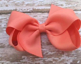 4 inch light coral hair bow - light coral hair bow, coral bow, boutique bows, 4 inch bows, girls hair bows, toddler bows, girls bows