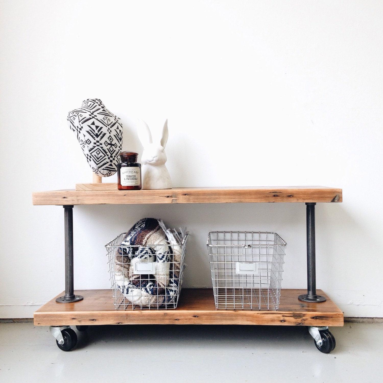 Rustic Industrial Reclaimed Wood Shoe Cart / Closet Organizer