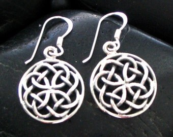Sterling Silver .925 Celtic Round Intricate Weave Drop Earrings - Perfect Round Size