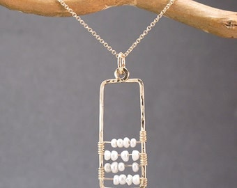 Abacus pendant with tiny white seed pearls Necklace 373