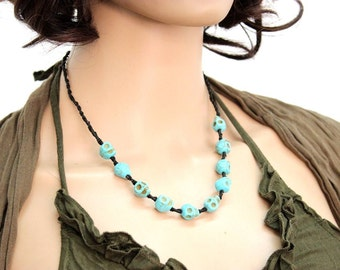 Necklace Handmade Blue Turquoise Skulls Beaded in Thailand FAIR Trade Wax Cotton String (N409-T)