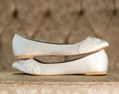 Wedding Shoes - Ivory Wedding Shoes/Wedding Ballet Flats, Satin Flats, Flat Wedding Shoes, Ivory Flats, Shoes with Ivory Lace. US Size 9