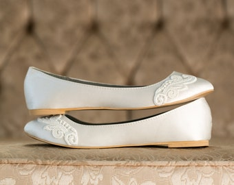 Wedding Shoes - Ivory Wedding Shoes/Wedding Ballet Flats, Ivory Flats, Ivory Satin Flats with Ivory Lace. US Size 8