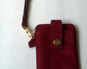 Wristlet Cell Case Red Suede Vintage