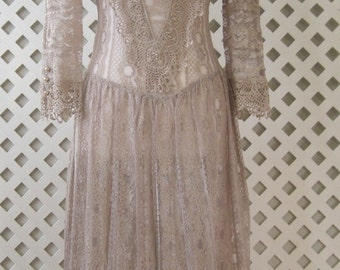 Vintage Dress 5/6 Wedding Bridal Cocktail Party Formal Prom Evening Beige Lace Woman's  Dress420s