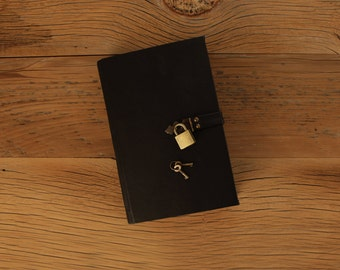 The Secret Diary, Diary with Lock, Black Leather / Tea-Stained Pages - Made-to-Order