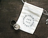 Personalized wedding ring bag.  Rustic muslin ring bag, ring bearer accessory.  2x4 muslin bags custom initials and floral wreath.
