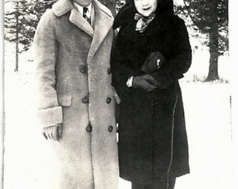 Old Photo Couple outside in Snow Coats Hats 1930s Photograph Snapshot vintage