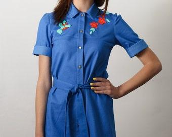denim dress, denim shirt dress, appliqued dress, bird dress, unique dress, blue denim dress, jeans dress, dress, blue dress, beautiful dress