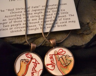 valentines his hers, boyfriend girlfirend necklcace set, red string of fate, hand painted