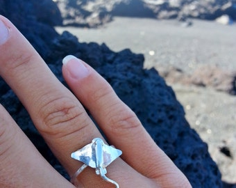 Sting Ray Ring, Manta Ray Ring, Sterling Silver ring, Ocean ring, sea creatures