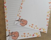 Letter paper - cute red fox sleeping drawing - autumn writing paper - forest animal