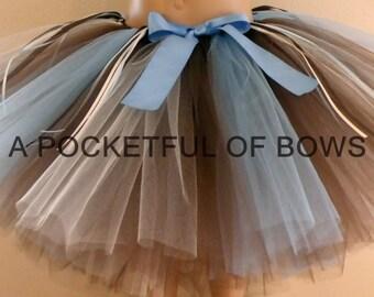 Brown and Blue Tutu Skirt, Toddler Girls Brown Tutu Skirt