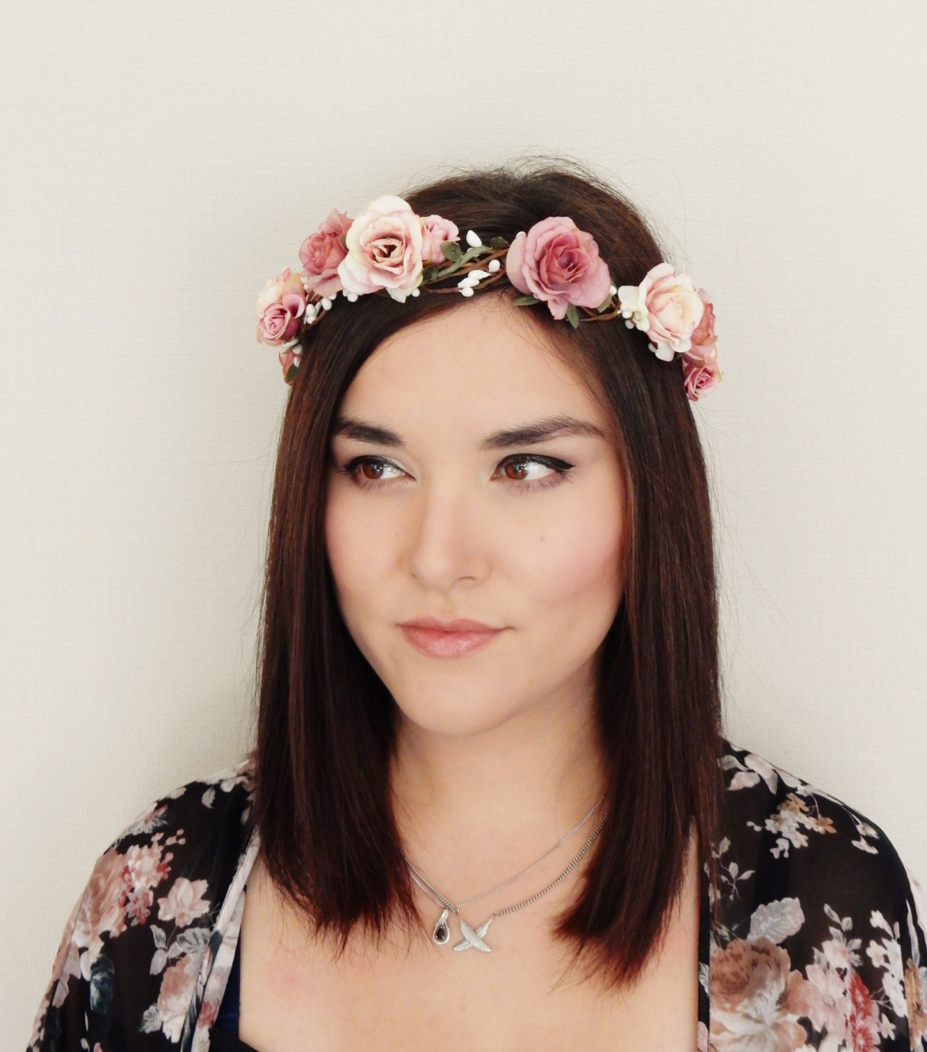 Pink Rose Flower Crown Floral Headband Floral Crown Flower