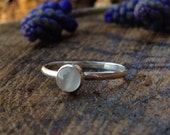 Moonstone Sterling Silver Ring. Round 5mm Moonstone Gemstone. Stacking Ring. White, Gray/Grey. Everyday Ring. Sizes 4.5 to 11
