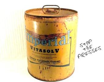 Industrial 5 Gallon Can - Rustic - Metal - Newspaper Printing Press - Imperial Metal Type