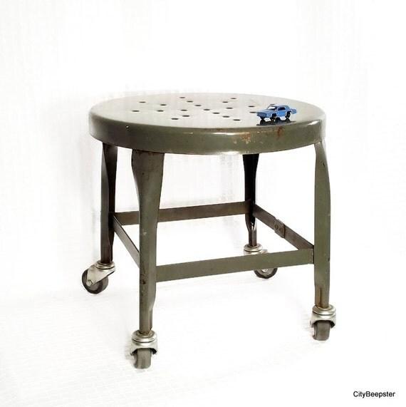 Vintage Industrial Metal Stool Mechanics Stool Uhl Toledo