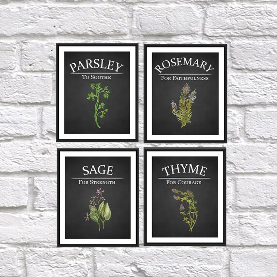 Kitchen Decor Herb Print Set Parsley Sage By Theeducatedowl