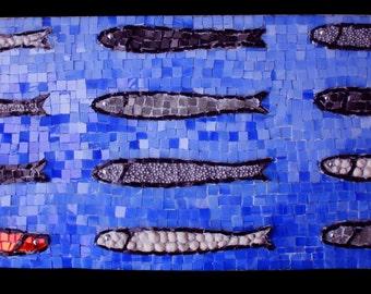 Upstream - mixed media mosaic