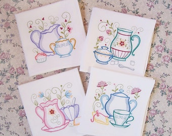 Embroidered Set of Teapots and Teacup Kitchen Towels in Bright Vibrant Colors