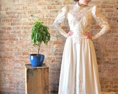 Vintage Wedding Dress - Sequins - Beads - Train - Victorian Style - Lace - Bustle - Lace Train