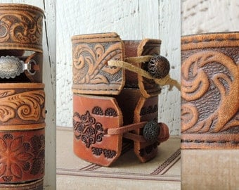 Tooled Leather Cuff/Rustic Statement Bracelet/Distressed Leather Cuff/Boho Cuff/Indie Jewelry/Leather Jewelry/Cowgirl/Western/Romantic/