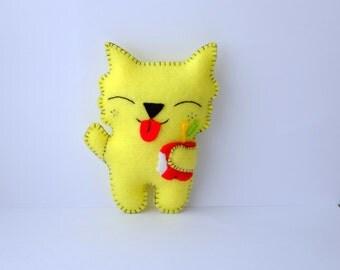 Funny kitten handmade felt plush doll or a car mirror charm